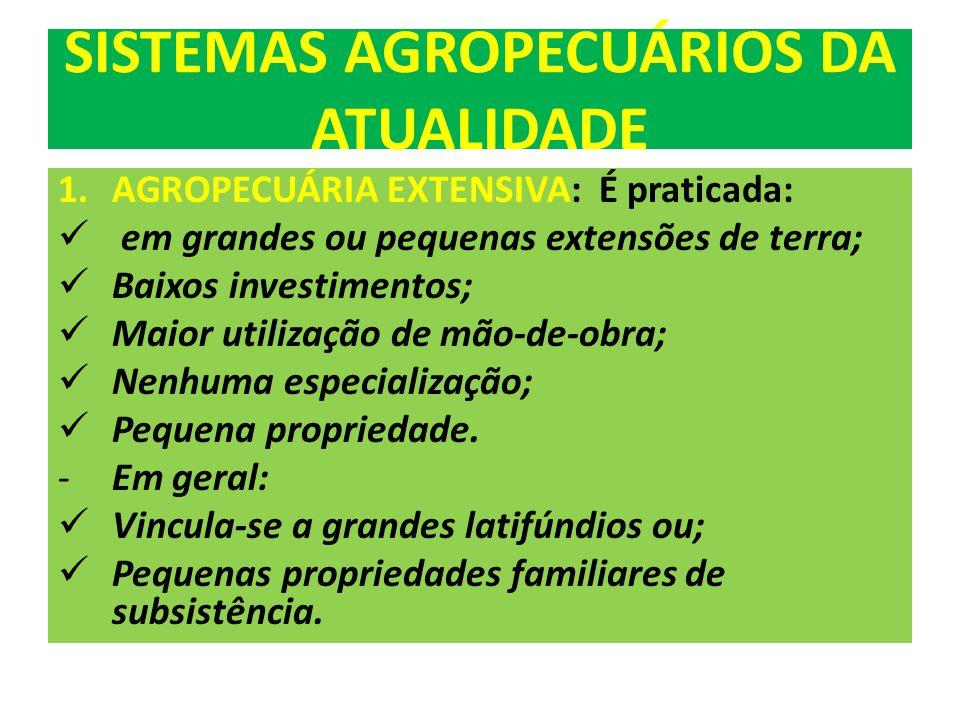 SISTEMAS AGROPECUÁRIOS DA ATUALIDADE 1.AGROPECUÁRIA EXTENSIVA: É praticada: em grandes ou pequenas extensões de terra; Baixos investimentos; Maior utilização de mão-de-obra; Nenhuma especialização; Pequena propriedade.