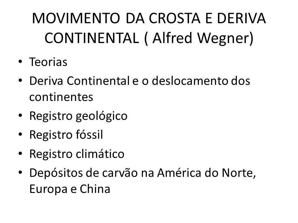 MOVIMENTO DA CROSTA E DERIVA CONTINENTAL ( Alfred Wegner) Teorias Deriva Continental e o deslocamento dos continentes Registro geológico Registro fóssil Registro climático Depósitos de carvão na América do Norte, Europa e China
