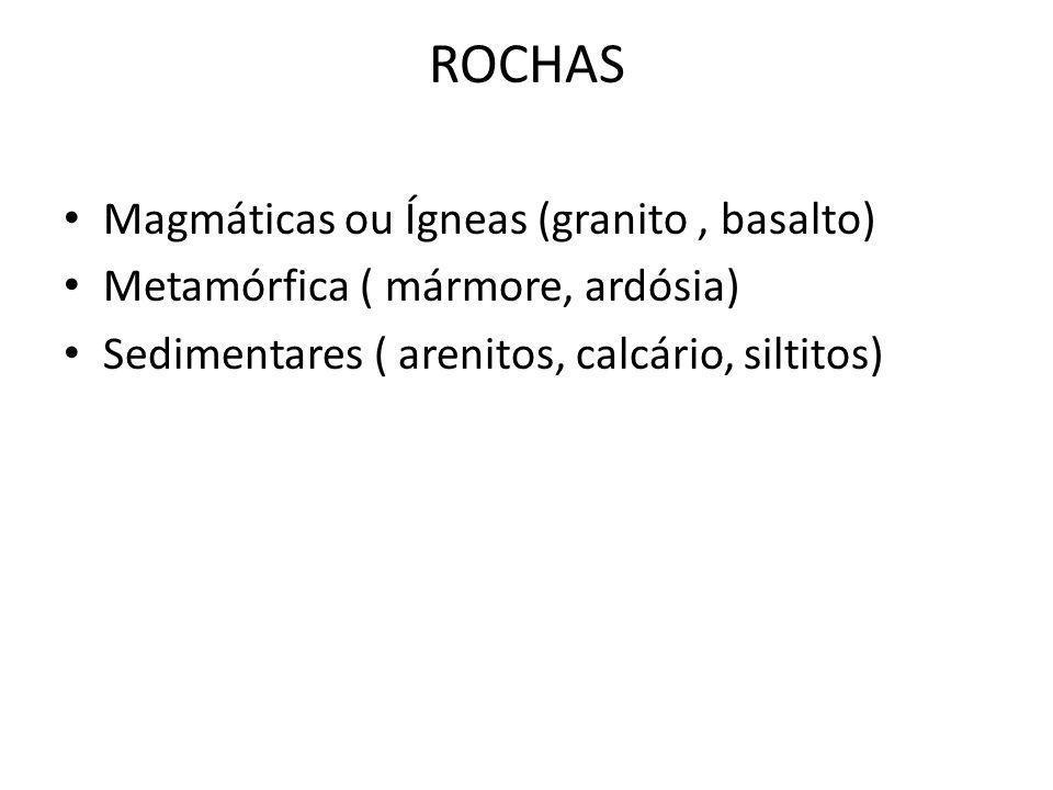 ROCHAS Magmáticas ou Ígneas (granito, basalto) Metamórfica ( mármore, ardósia) Sedimentares ( arenitos, calcário, siltitos)