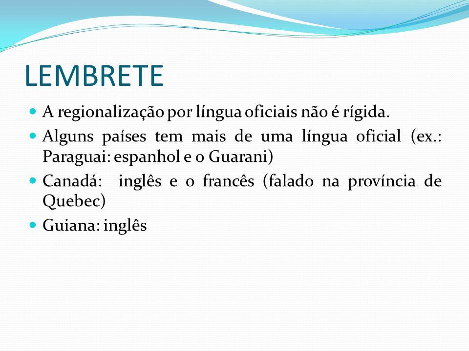 LEMBRETE A regionalização por língua oficiais não é rígida.