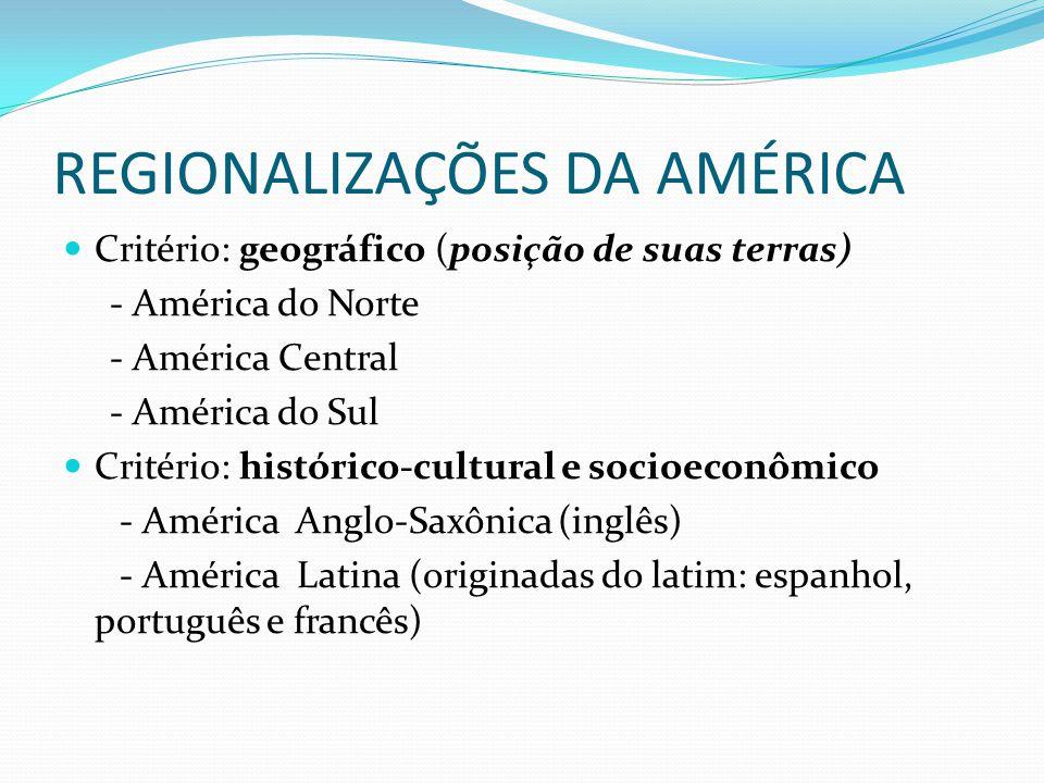 REGIONALIZAÇÕES DA AMÉRICA Critério: geográfico (posição de suas terras) - América do Norte - América Central - América do Sul Critério: histórico-cultural e socioeconômico - América Anglo-Saxônica (inglês) - América Latina (originadas do latim: espanhol, português e francês)