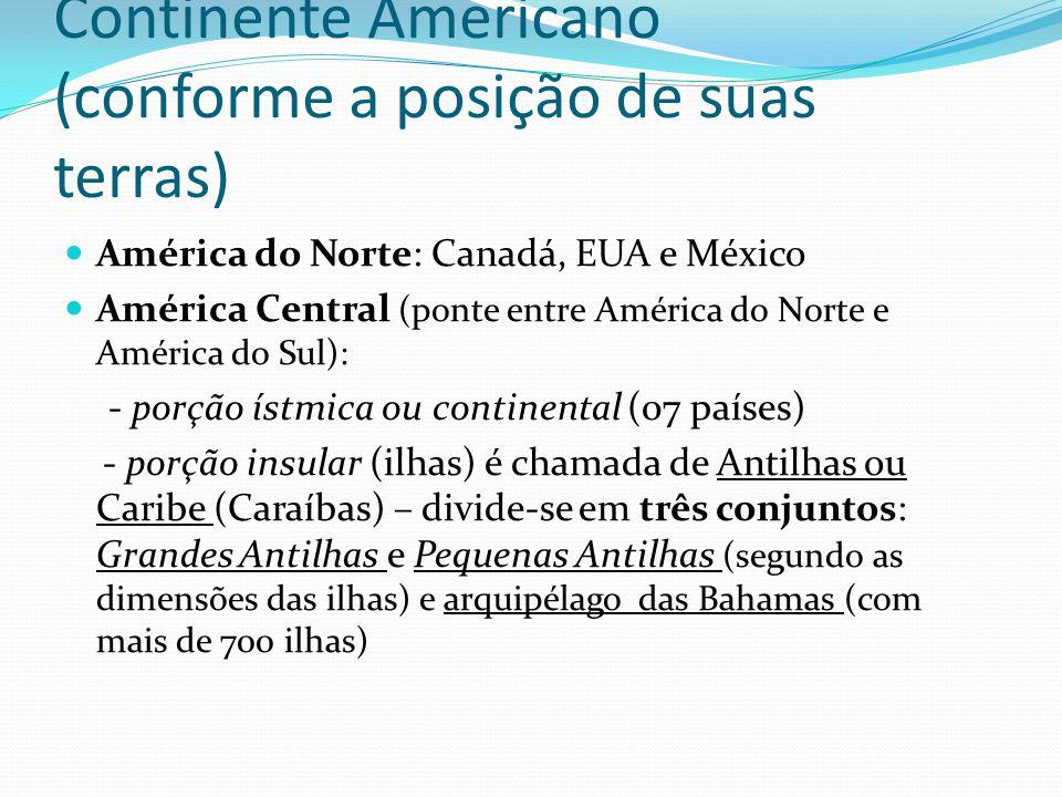Continente Americano (conforme a posição de suas terras) América do Norte: Canadá, EUA e México América Central (ponte entre América do Norte e América do Sul): - porção ístmica ou continental (07 países) - porção insular (ilhas) é chamada de Antilhas ou Caribe (Caraíbas) – divide-se em três conjuntos: Grandes Antilhas e Pequenas Antilhas (segundo as dimensões das ilhas) e arquipélago das Bahamas (com mais de 700 ilhas)