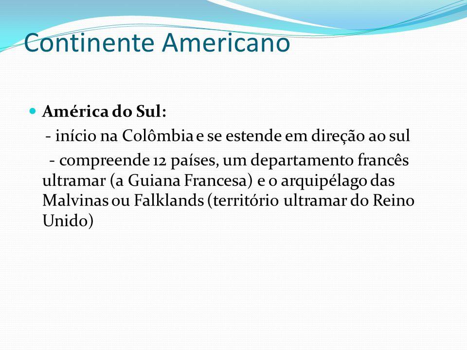 Continente Americano América do Sul: - início na Colômbia e se estende em direção ao sul - compreende 12 países, um departamento francês ultramar (a Guiana Francesa) e o arquipélago das Malvinas ou Falklands (território ultramar do Reino Unido)