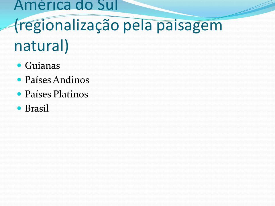 América do Sul (regionalização pela paisagem natural) Guianas Países Andinos Países Platinos Brasil