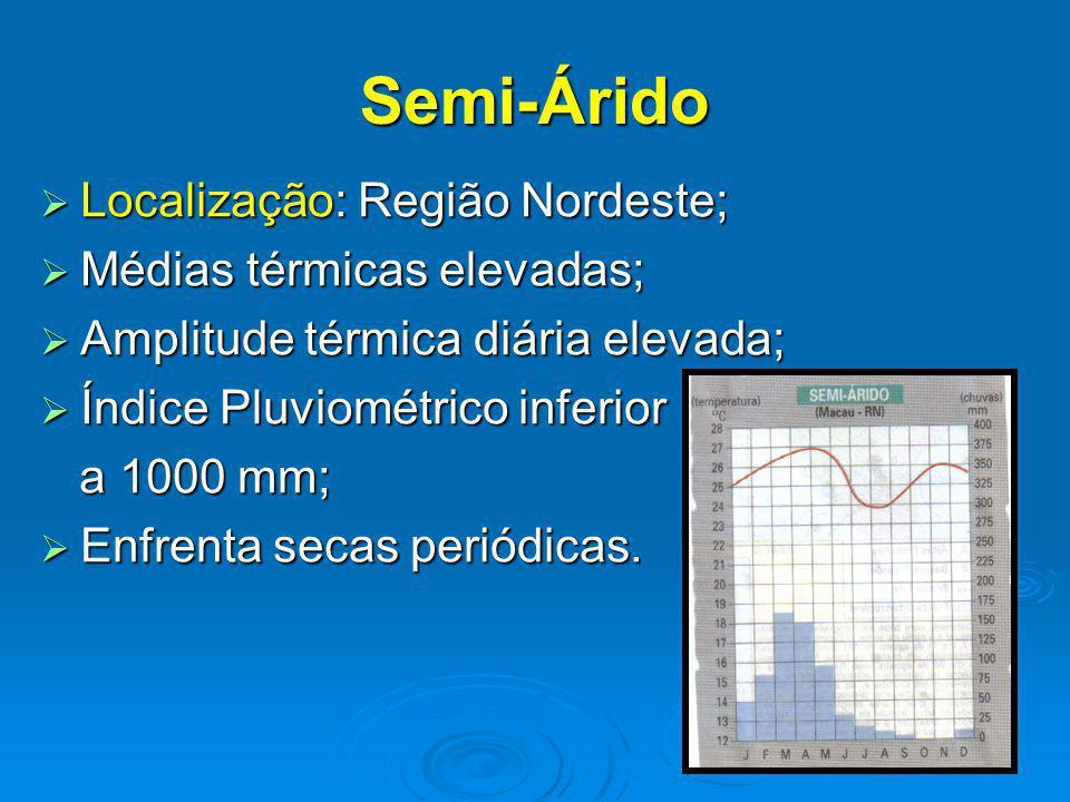 Semi-Árido Localização: Região Nordeste; Localização: Região Nordeste; Médias térmicas elevadas; Médias térmicas elevadas; Amplitude térmica diária elevada; Amplitude térmica diária elevada; Índice Pluviométrico inferior Índice Pluviométrico inferior a 1000 mm; a 1000 mm; Enfrenta secas periódicas.