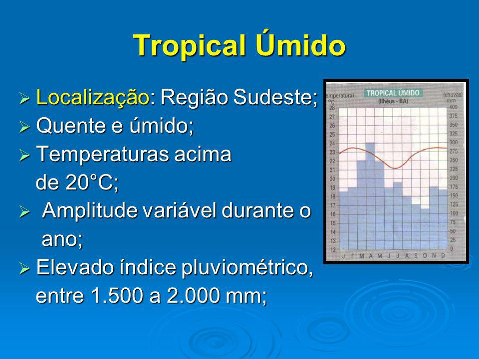 Tropical Úmido Localização: Região Sudeste; Localização: Região Sudeste; Quente e úmido; Quente e úmido; Temperaturas acima Temperaturas acima de 20°C; de 20°C; Amplitude variável durante o Amplitude variável durante o ano; ano; Elevado índice pluviométrico, Elevado índice pluviométrico, entre 1.500 a 2.000 mm; entre 1.500 a 2.000 mm;