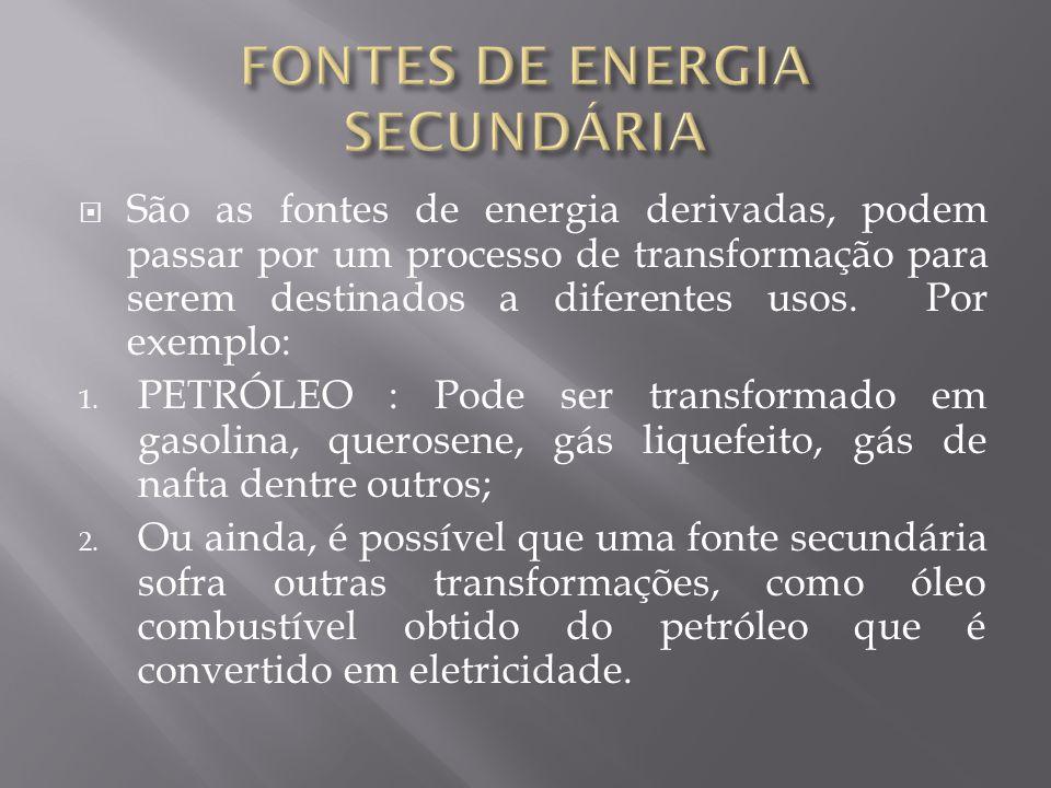 São as fontes de energia derivadas, podem passar por um processo de transformação para serem destinados a diferentes usos. Por exemplo: 1. PETRÓLEO :