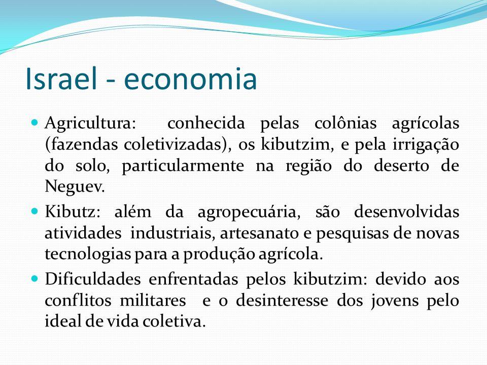 Israel - economia Agricultura: conhecida pelas colônias agrícolas (fazendas coletivizadas), os kibutzim, e pela irrigação do solo, particularmente na