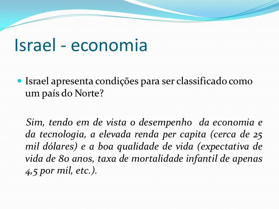 Israel - economia Israel apresenta condições para ser classificado como um país do Norte? Sim, tendo em de vista o desempenho da economia e da tecnolo