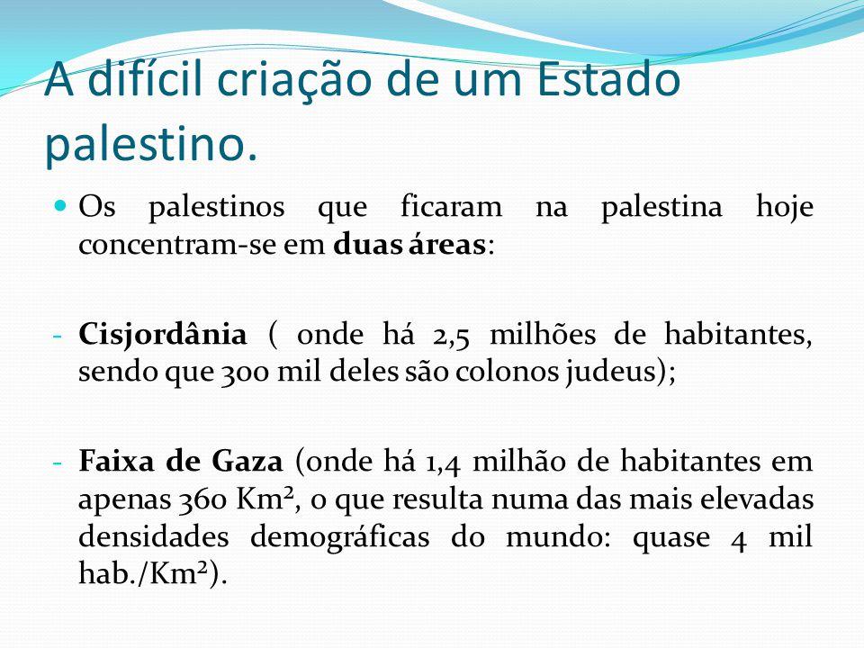 A difícil criação de um Estado palestino. Os palestinos que ficaram na palestina hoje concentram-se em duas áreas: - Cisjordânia ( onde há 2,5 milhões