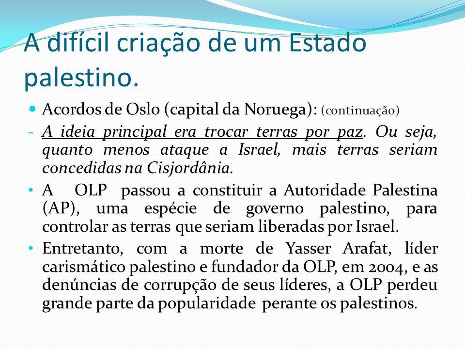 A difícil criação de um Estado palestino. Acordos de Oslo (capital da Noruega): (continuação) - A ideia principal era trocar terras por paz. Ou seja,