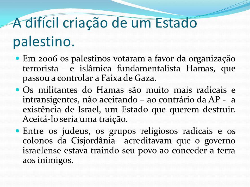 A difícil criação de um Estado palestino. Em 2006 os palestinos votaram a favor da organização terrorista e islâmica fundamentalista Hamas, que passou