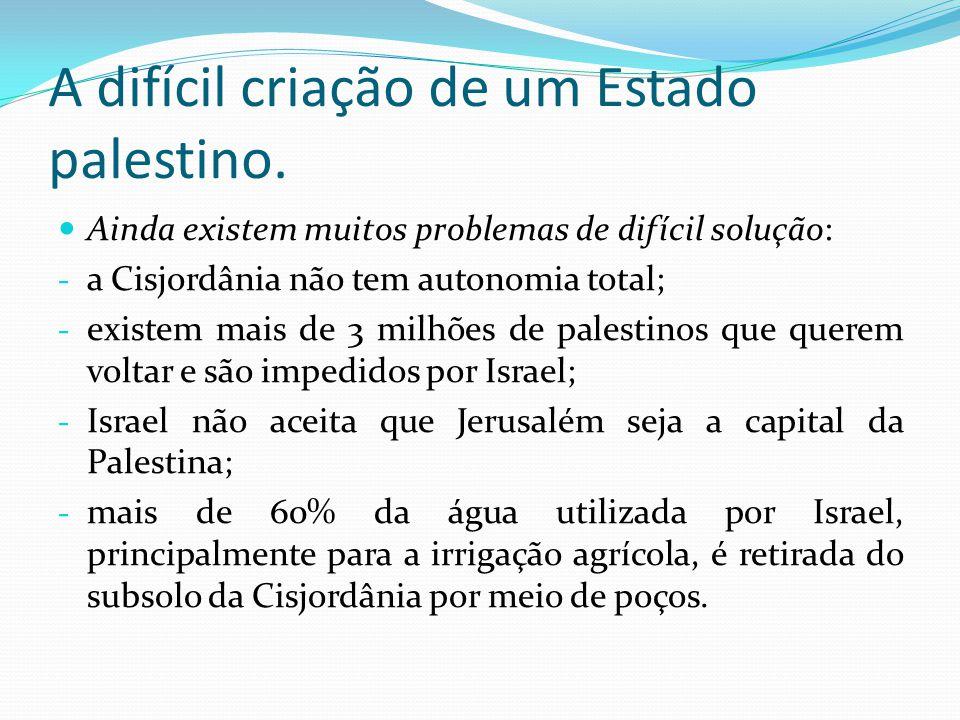A difícil criação de um Estado palestino. Ainda existem muitos problemas de difícil solução: - a Cisjordânia não tem autonomia total; - existem mais d