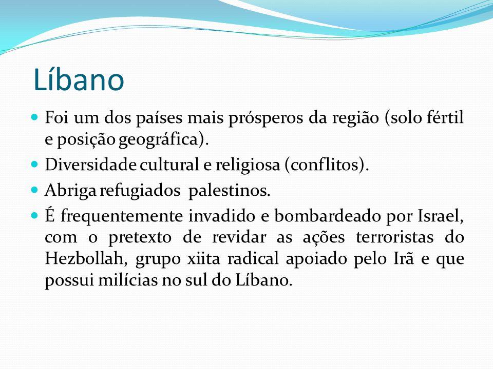Líbano Foi um dos países mais prósperos da região (solo fértil e posição geográfica). Diversidade cultural e religiosa (conflitos). Abriga refugiados