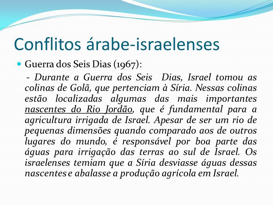 Conflitos árabe-israelenses Guerra do Yom Kippur (Dia do Perdão): - Em 06 de outubro de 1973, feriado religioso judaico do Yom Kippur, tropas egípcias, sírias e de outros países árabes avançam sobre a Península do Sinai e as Colinas de Golan para reconquistá-las.