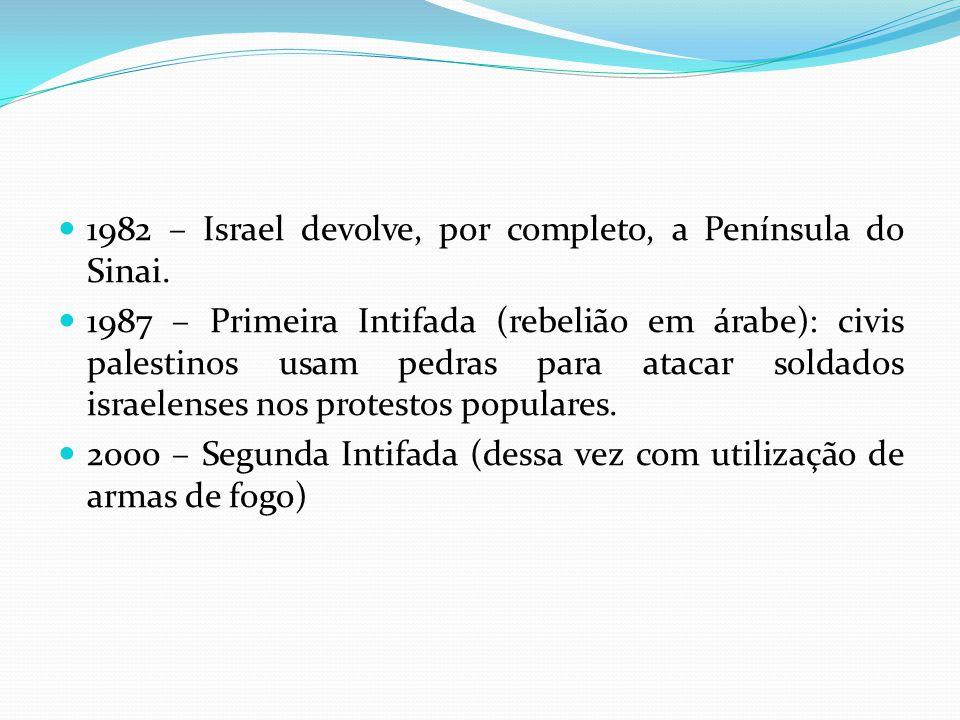 1982 – Israel devolve, por completo, a Península do Sinai. 1987 – Primeira Intifada (rebelião em árabe): civis palestinos usam pedras para atacar sold