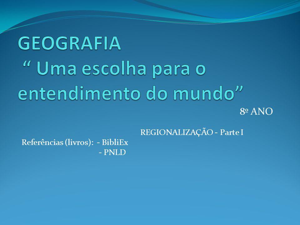 8º ANO REGIONALIZAÇÃO - Parte I Referências (livros): - BibliEx - PNLD