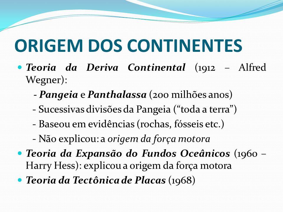 ORIGEM DOS CONTINENTES Teoria da Deriva Continental (1912 – Alfred Wegner): - Pangeia e Panthalassa (200 milhões anos) - Sucessivas divisões da Pangei