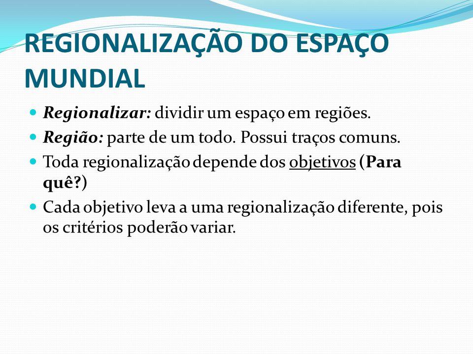 REGIONALIZAÇÃO DO ESPAÇO MUNDIAL Regionalizar: dividir um espaço em regiões. Região: parte de um todo. Possui traços comuns. Toda regionalização depen