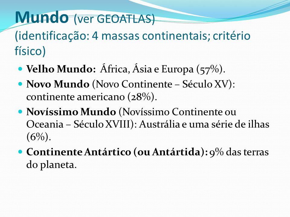 Mundo (ver GEOATLAS) (identificação: 4 massas continentais; critério físico) Velho Mundo: África, Ásia e Europa (57%). Novo Mundo (Novo Continente – S
