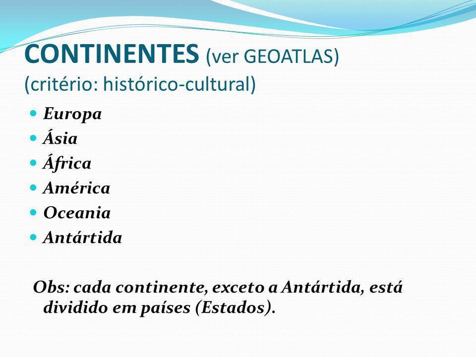 CONTINENTES (ver GEOATLAS) (critério: histórico-cultural) Europa Ásia África América Oceania Antártida Obs: cada continente, exceto a Antártida, está