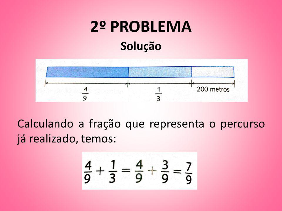 2º PROBLEMA Solução Calculando a fração que representa o percurso já realizado, temos: