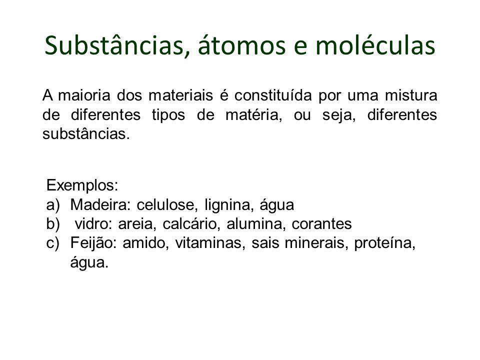Substâncias, átomos e moléculas A maioria dos materiais é constituída por uma mistura de diferentes tipos de matéria, ou seja, diferentes substâncias.