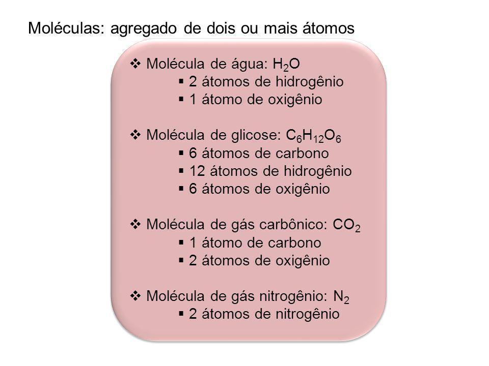 Moléculas: agregado de dois ou mais átomos Molécula de água: H 2 O 2 átomos de hidrogênio 1 átomo de oxigênio Molécula de glicose: C 6 H 12 O 6 6 átomos de carbono 12 átomos de hidrogênio 6 átomos de oxigênio Molécula de gás carbônico: CO 2 1 átomo de carbono 2 átomos de oxigênio Molécula de gás nitrogênio: N 2 2 átomos de nitrogênio Molécula de água: H 2 O 2 átomos de hidrogênio 1 átomo de oxigênio Molécula de glicose: C 6 H 12 O 6 6 átomos de carbono 12 átomos de hidrogênio 6 átomos de oxigênio Molécula de gás carbônico: CO 2 1 átomo de carbono 2 átomos de oxigênio Molécula de gás nitrogênio: N 2 2 átomos de nitrogênio