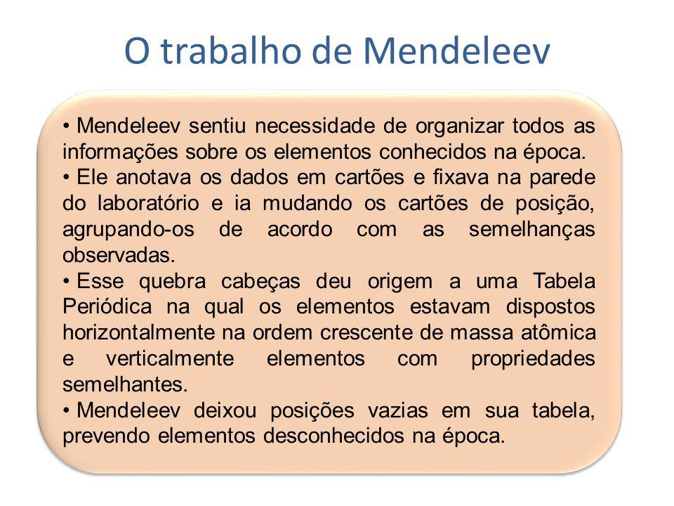 O trabalho de Mendeleev Mendeleev sentiu necessidade de organizar todos as informações sobre os elementos conhecidos na época. Ele anotava os dados em