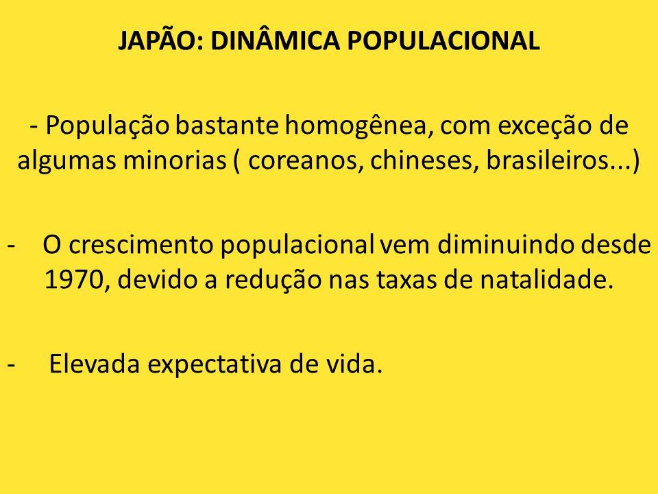 JAPÃO: DINÂMICA POPULACIONAL - População bastante homogênea, com exceção de algumas minorias ( coreanos, chineses, brasileiros...) - O crescimento pop