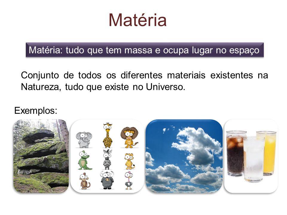 Matéria Matéria: tudo que tem massa e ocupa lugar no espaço Conjunto de todos os diferentes materiais existentes na Natureza, tudo que existe no Universo.