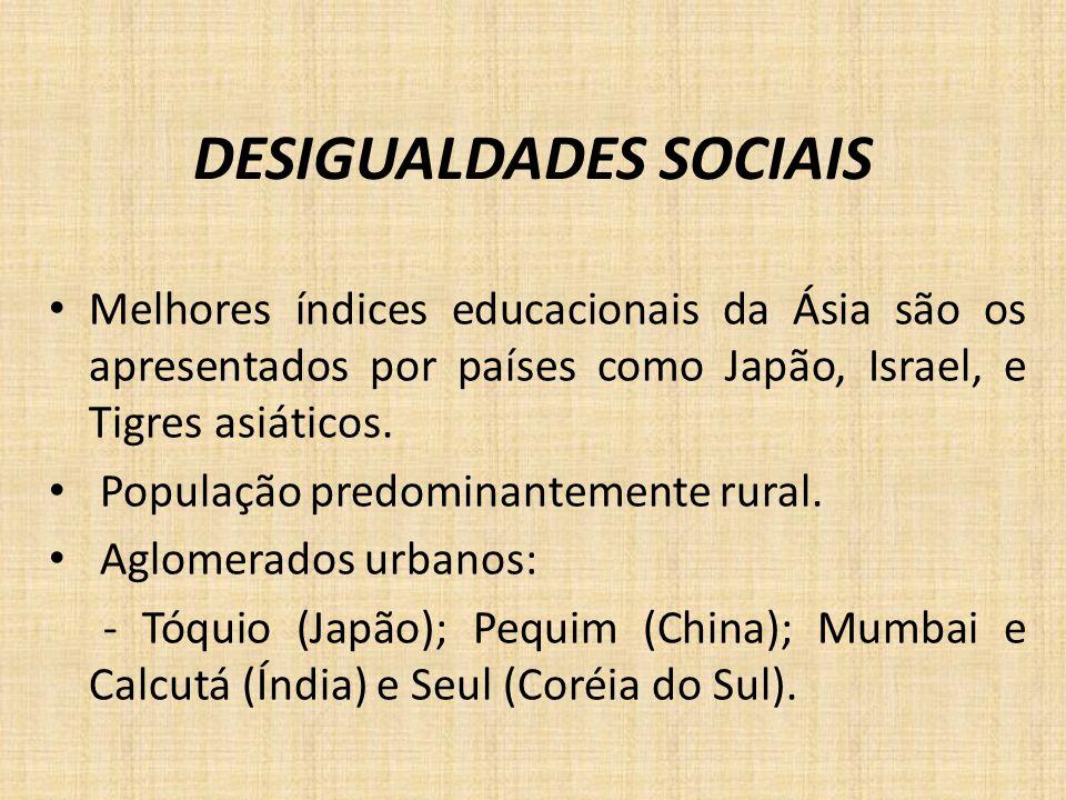 DESIGUALDADES SOCIAIS Melhores índices educacionais da Ásia são os apresentados por países como Japão, Israel, e Tigres asiáticos. População predomina