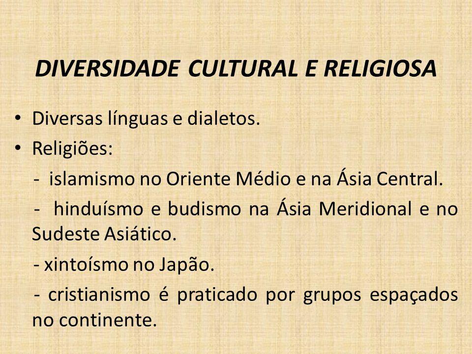 DIVERSIDADE CULTURAL E RELIGIOSA Diversas línguas e dialetos. Religiões: - islamismo no Oriente Médio e na Ásia Central. - hinduísmo e budismo na Ásia