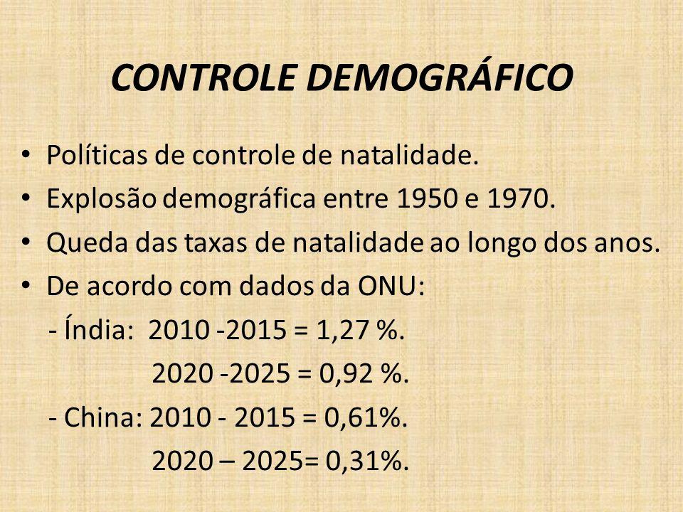 CONTROLE DEMOGRÁFICO Políticas de controle de natalidade. Explosão demográfica entre 1950 e 1970. Queda das taxas de natalidade ao longo dos anos. De