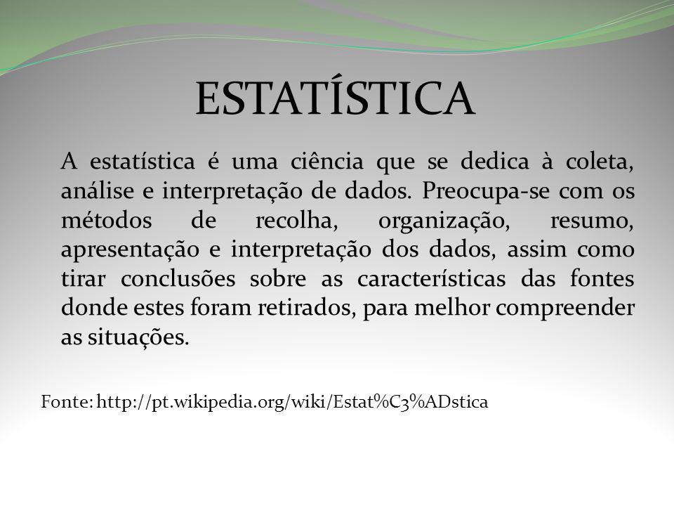 ESTATÍSTICA A estatística é uma ciência que se dedica à coleta, análise e interpretação de dados.