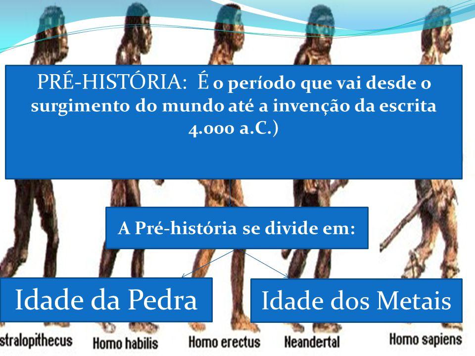 Idade da Pedra Idade dos Metais PRÉ-HISTÓRIA: É o período que vai desde o surgimento do mundo até a invenção da escrita 4.000 a.C.) A Pré-história se