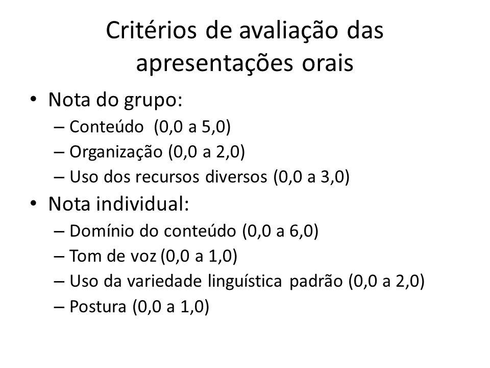 Critérios de avaliação das apresentações orais Nota do grupo: – Conteúdo (0,0 a 5,0) – Organização (0,0 a 2,0) – Uso dos recursos diversos (0,0 a 3,0) Nota individual: – Domínio do conteúdo (0,0 a 6,0) – Tom de voz (0,0 a 1,0) – Uso da variedade linguística padrão (0,0 a 2,0) – Postura (0,0 a 1,0)