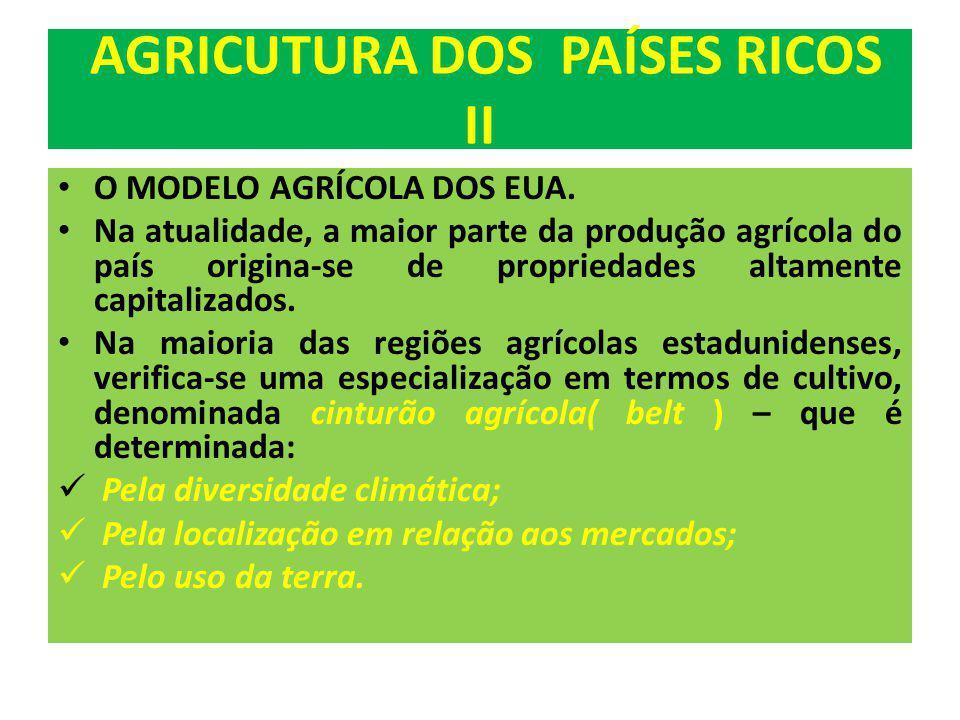 AGRICUTURA DOS PAÍSES RICOS II O MODELO AGRÍCOLA DOS EUA. Na atualidade, a maior parte da produção agrícola do país origina-se de propriedades altamen
