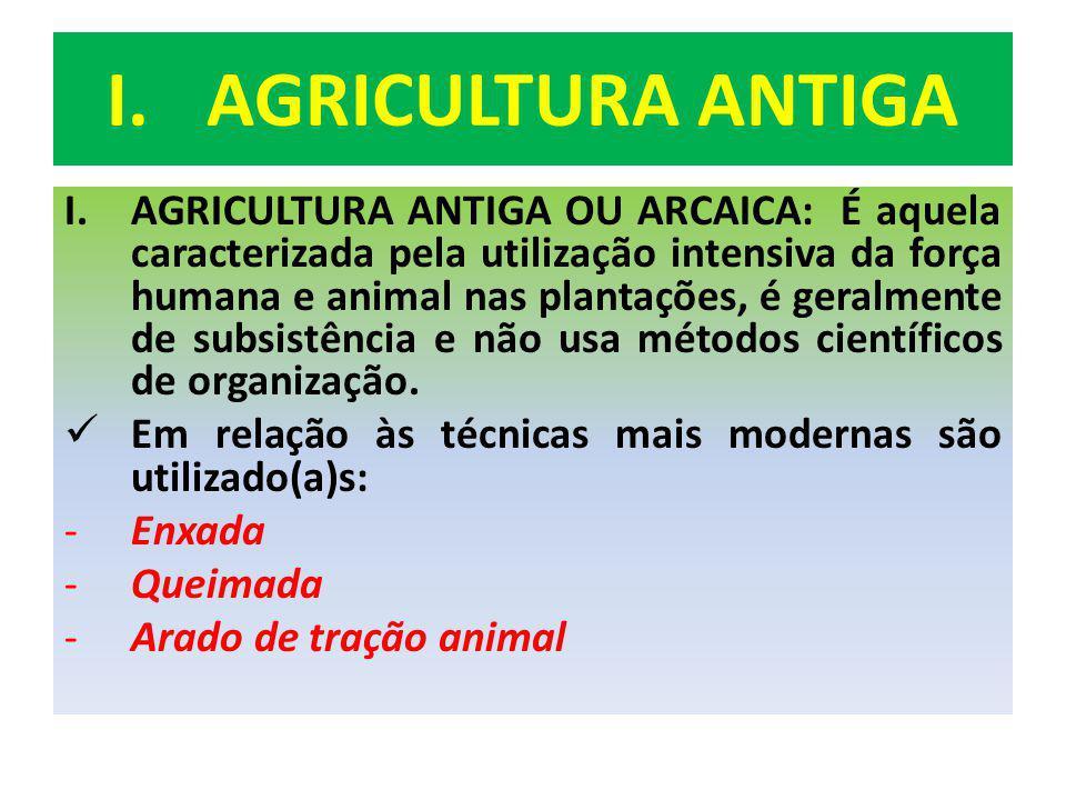 I.AGRICULTURA ANTIGA I.AGRICULTURA ANTIGA OU ARCAICA: É aquela caracterizada pela utilização intensiva da força humana e animal nas plantações, é gera