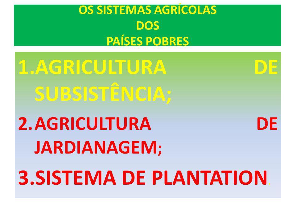 OS SISTEMAS AGRÍCOLAS DOS PAÍSES POBRES 1.AGRICULTURA DE SUBSISTÊNCIA; 2.AGRICULTURA DE JARDIANAGEM ; 3.SISTEMA DE PLANTATION.