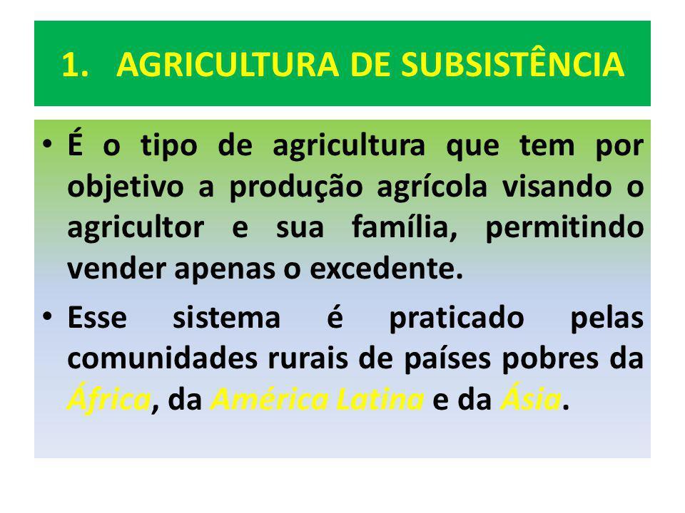 1.AGRICULTUTA DE SUBSISTÊNCIA AGRICULTURA ITINERANTE OU SITEMA DE ROÇA: Ocorre nas pequenas propriedades agrícolas da África e em parte da América Latina, e consiste em: O agricultor desmata um pedaço de terra; Ateia fogo para limpar o terreno; Semeia; Colhe; E em geral, abandona o solo após 2(dois) anos de uso, em decorrência de seu esgotamento.