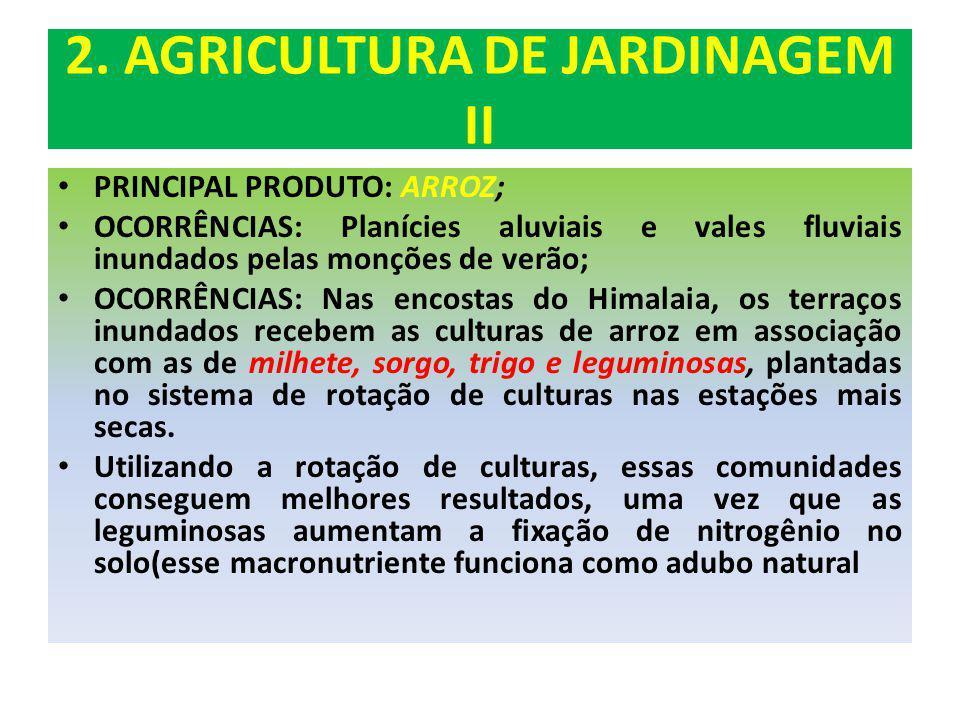 2. AGRICULTURA DE JARDINAGEM II PRINCIPAL PRODUTO: ARROZ; OCORRÊNCIAS: Planícies aluviais e vales fluviais inundados pelas monções de verão; OCORRÊNCI