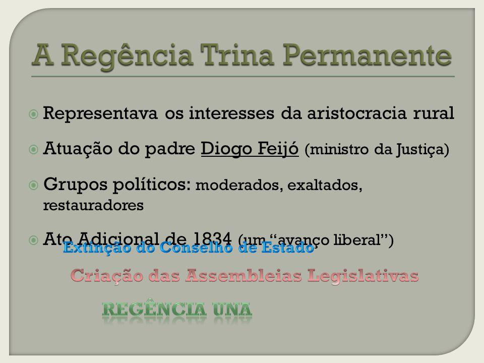 Representava os interesses da aristocracia rural Atuação do padre Diogo Feijó (ministro da Justiça) Grupos políticos: moderados, exaltados, restauradores Ato Adicional de 1834 (um avanço liberal)