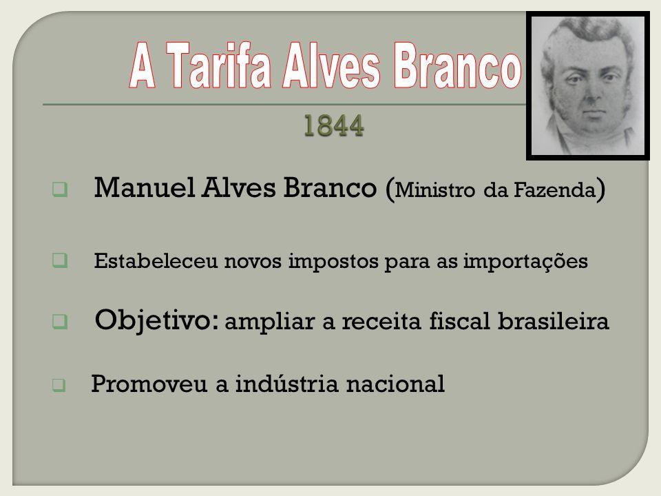 Manuel Alves Branco ( Ministro da Fazenda ) Estabeleceu novos impostos para as importações Objetivo: ampliar a receita fiscal brasileira Promoveu a indústria nacional