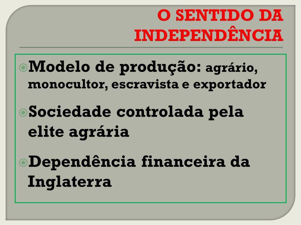 Modelo de produção: agrário, monocultor, escravista e exportador Sociedade controlada pela elite agrária Dependência financeira da Inglaterra