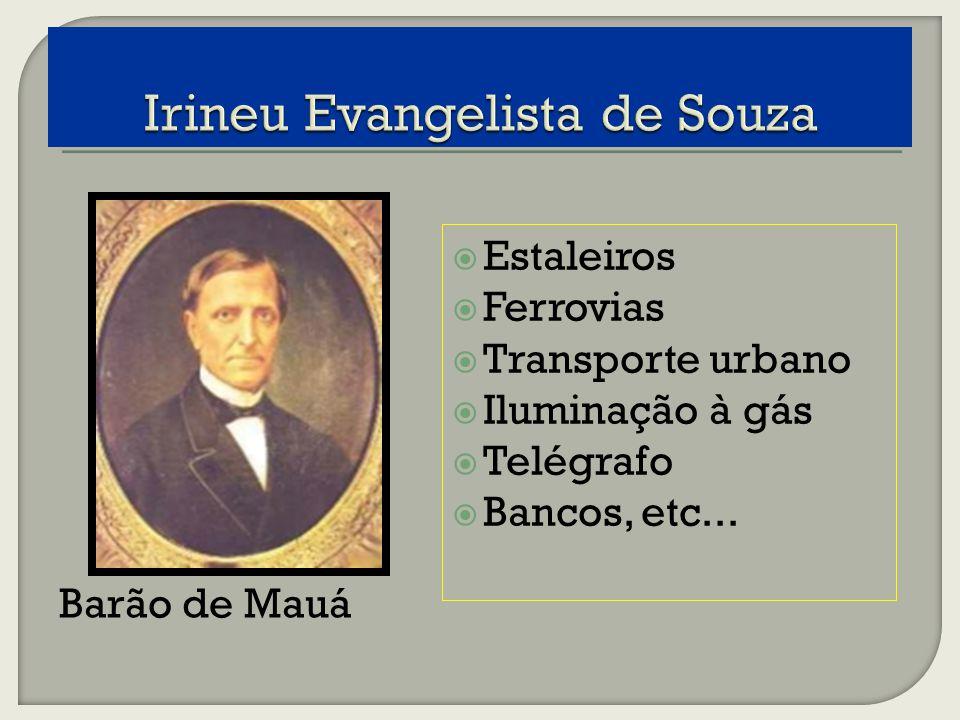 Barão de Mauá Estaleiros Ferrovias Transporte urbano Iluminação à gás Telégrafo Bancos, etc...