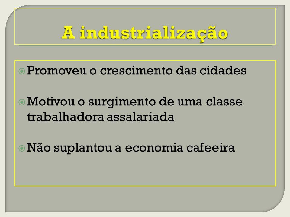 Promoveu o crescimento das cidades Motivou o surgimento de uma classe trabalhadora assalariada Não suplantou a economia cafeeira