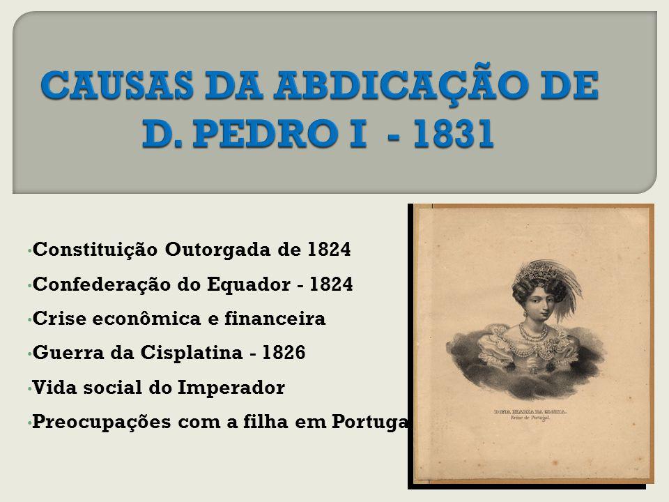 Constituição Outorgada de 1824 Confederação do Equador - 1824 Crise econômica e financeira Guerra da Cisplatina - 1826 Vida social do Imperador Preocupações com a filha em Portugal