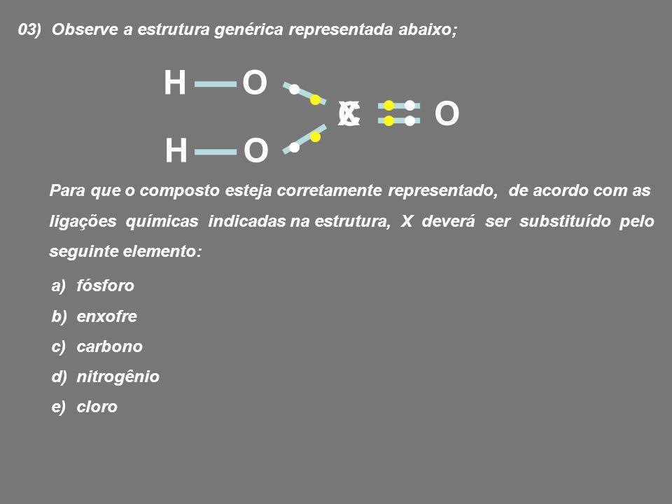 02) (UESPI) O fosfogênio (COCl 2 ), um gás incolor, tóxico, de cheiro penetrante, utilizado na Primeira Guerra Mundial como gás asfixiante, é produzido a partir da reação: CO (g) + Cl 2(g) COCl 2(g) Sobre a molécula do fosfogênio, podemos afirmar que ela apresenta: a) duas ligações duplas e duas ligações simples b) uma ligação dupla e duas ligações simples c) duas ligações duplas e uma ligação simples d) uma ligação tripla e uma ligação dupla e) uma ligação tripla e uma simples Pág.114 Ex.