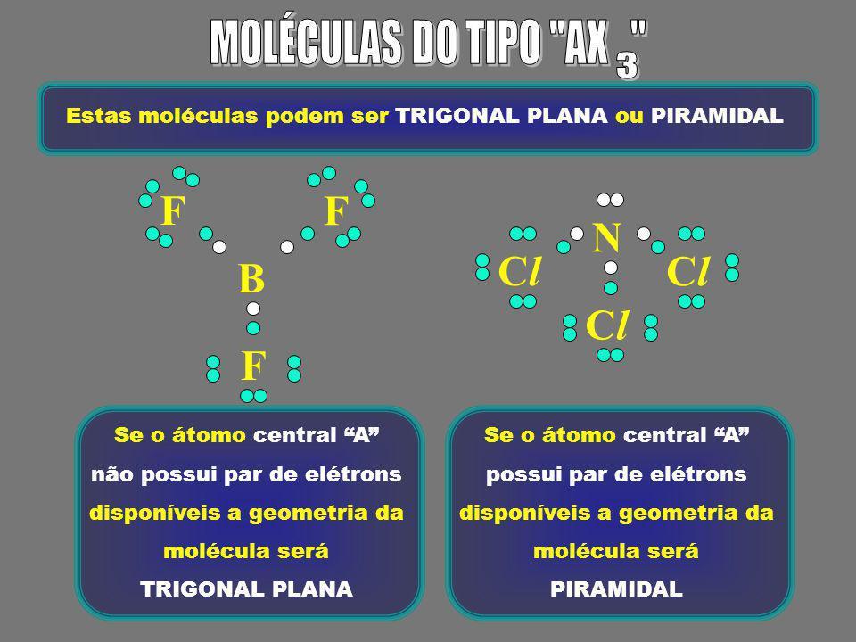 OCO O H H Estas moléculas podem ser LINEARES ou ANGULARES Se o átomo central A não possui par de elétrons disponíveis, a molécula é LINEAR Se o átomo central A possui um ou mais pares de elétrons disponíveis, a molécula é ANGULAR